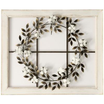 Floral Wreath Wood Framed Wall Art