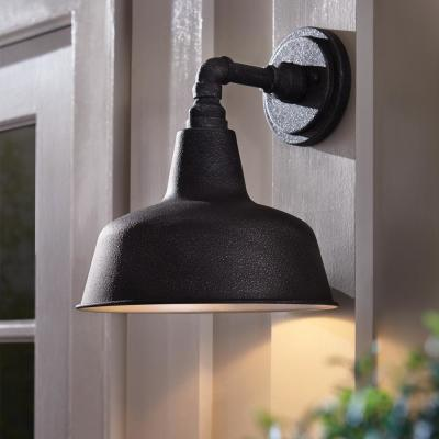 1-Light Gilded Iron 12.4 in. Outdoor Wall Lantern Sconce