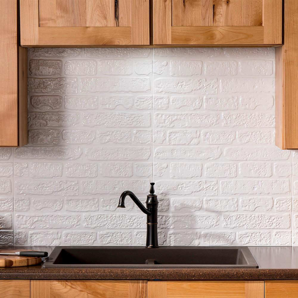 Delightful Fasade Brick 24.25 In. X 18.25 In. Vinyl Backsplash In Matte White