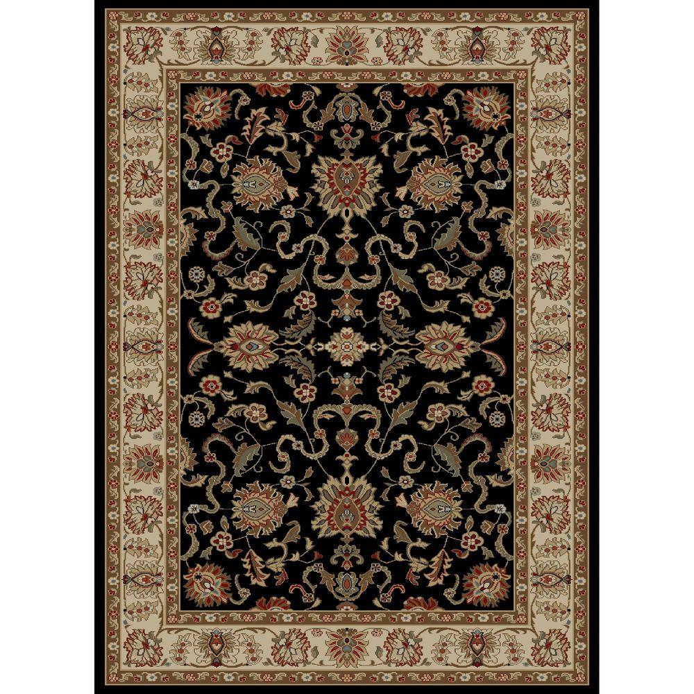 Concord Global Trading Ankara Agra Black 3 ft. 11 in. x 5 ft. 5 in. Area Rug