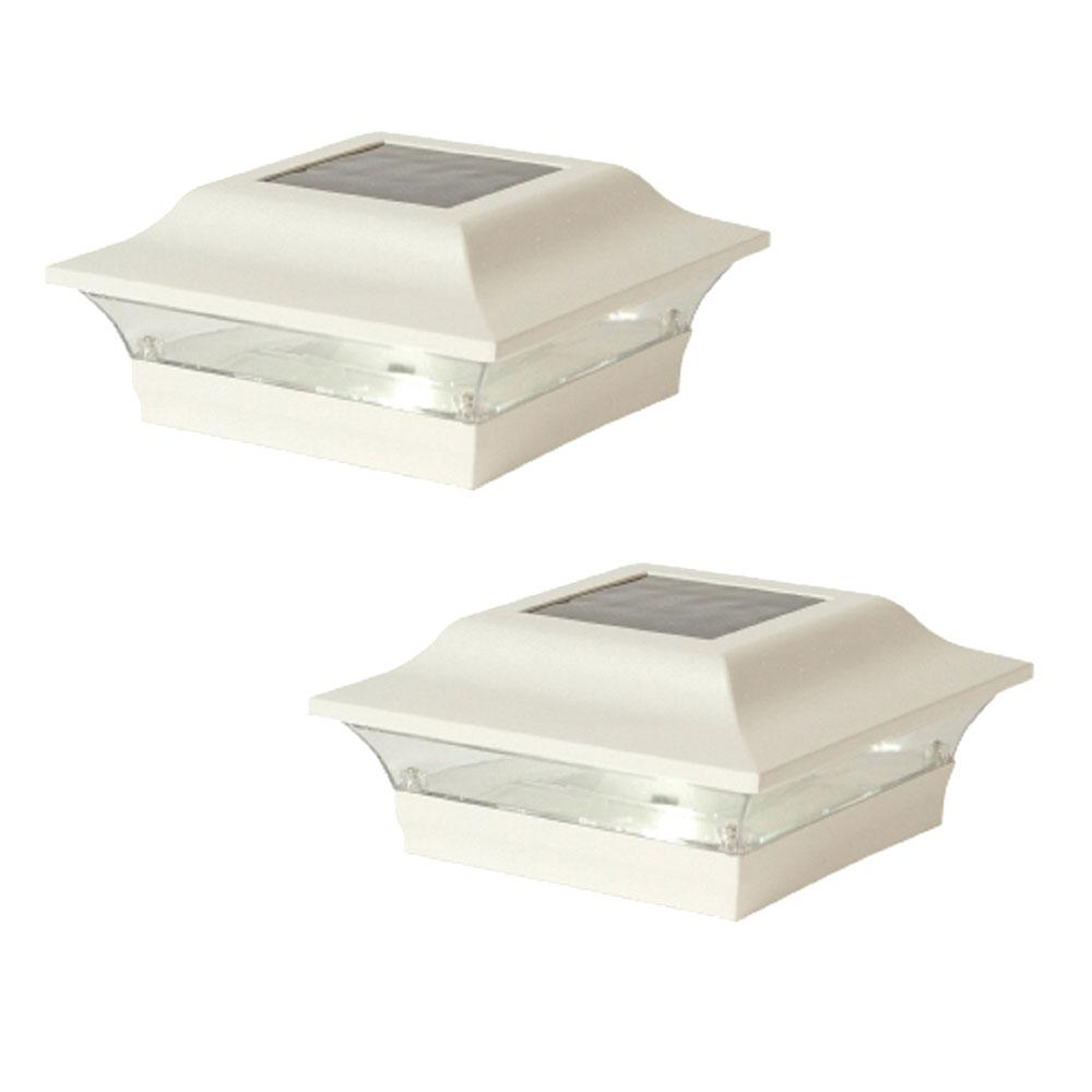 Classy Caps Imperial 5 in. x 5 in. Outdoor White Cast Aluminum LED Solar Post Cap (2-Pack)