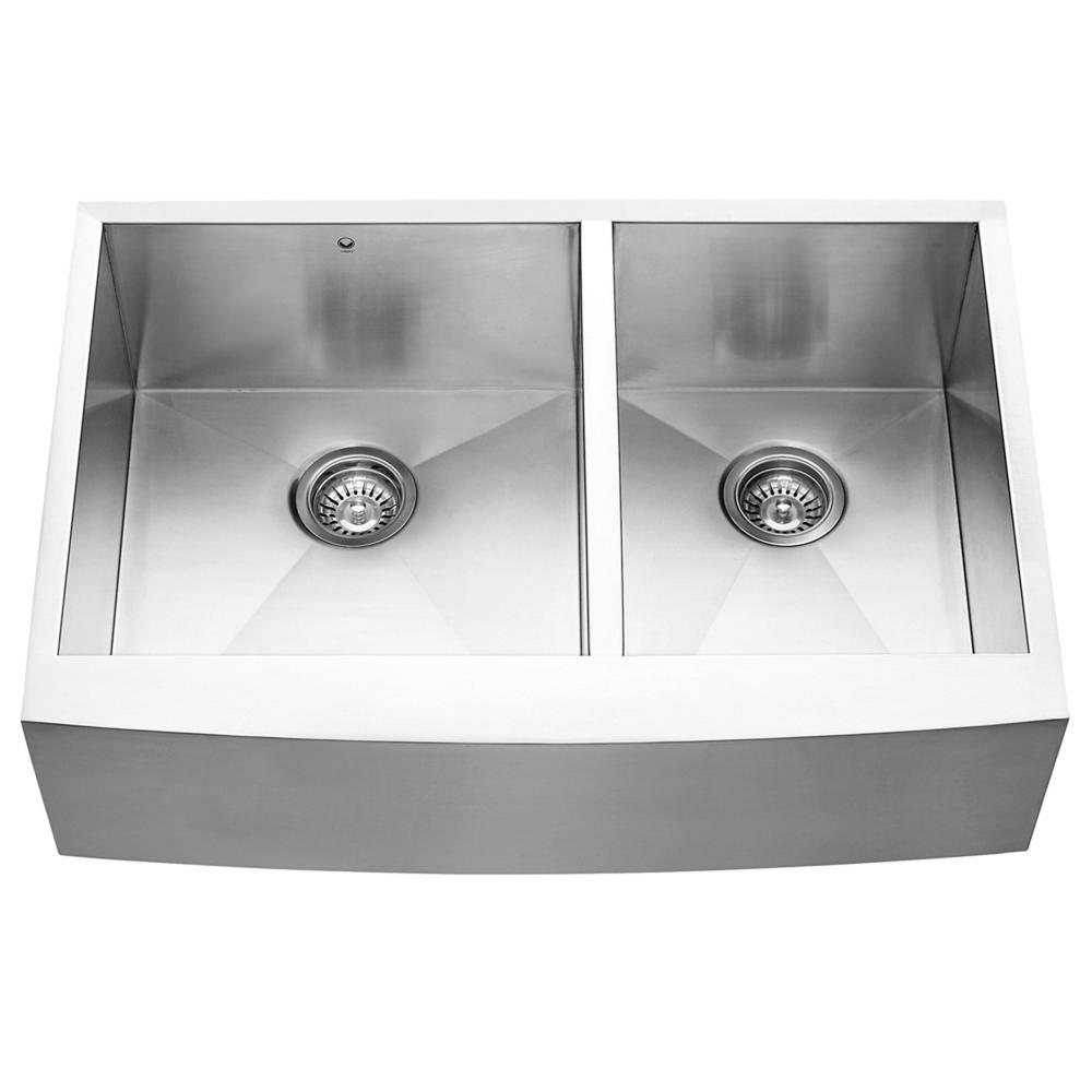 VIGO Farmhouse Apron Front Stainless Steel 33 in. Double Bowl ...