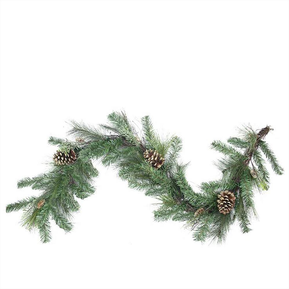 Northlight 6 Ft X 14 In Unlit Artificial Mixed Pine With Pine Cones And Gold Glitter Christmas Garland