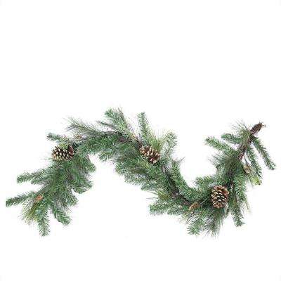 6 ft. x 14 in. Unlit Artificial Mixed Pine with Pine Cones and Gold Glitter Christmas Garland