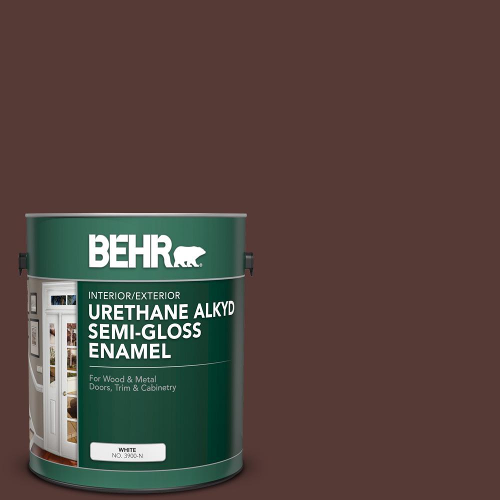 BEHR 1 gal. #PPU1-02 Divine Wine Urethane Alkyd Semi-Gloss Enamel Interior/Exterior Paint