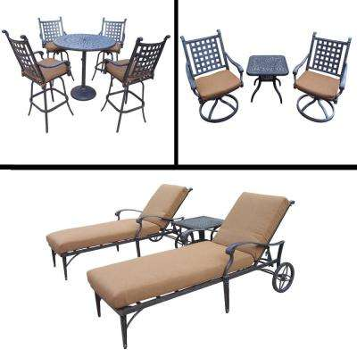 Belmont Premier 11-Piece Aluminum Outdoor Bar Height Dining Set with Sunbrella Brown Cushions