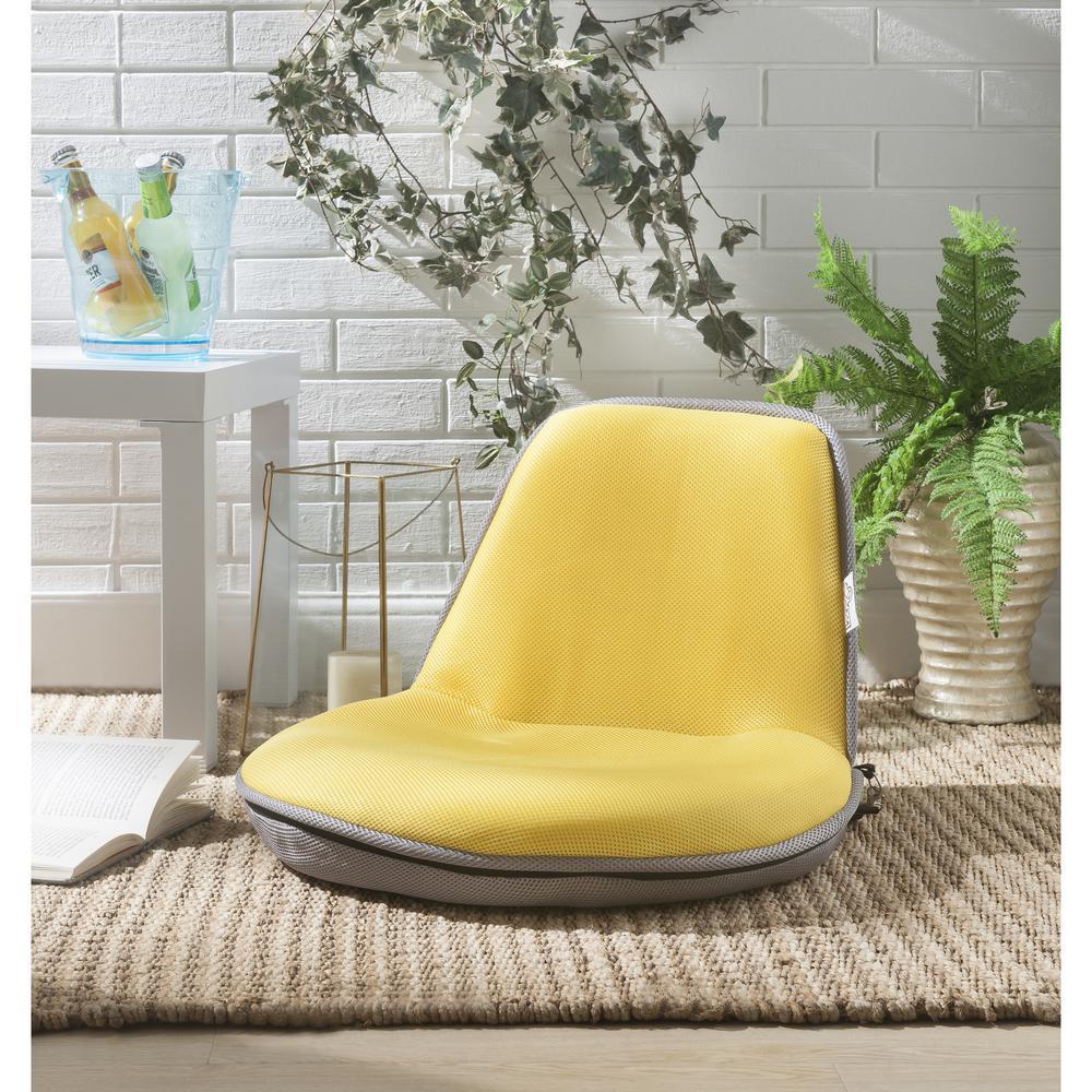 Quickchair Yellow/Grey Mesh Folding Floor Chair for Indoor/Outdoor