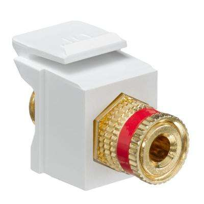QuickPort Binding Post Connector with Red Stripe, White
