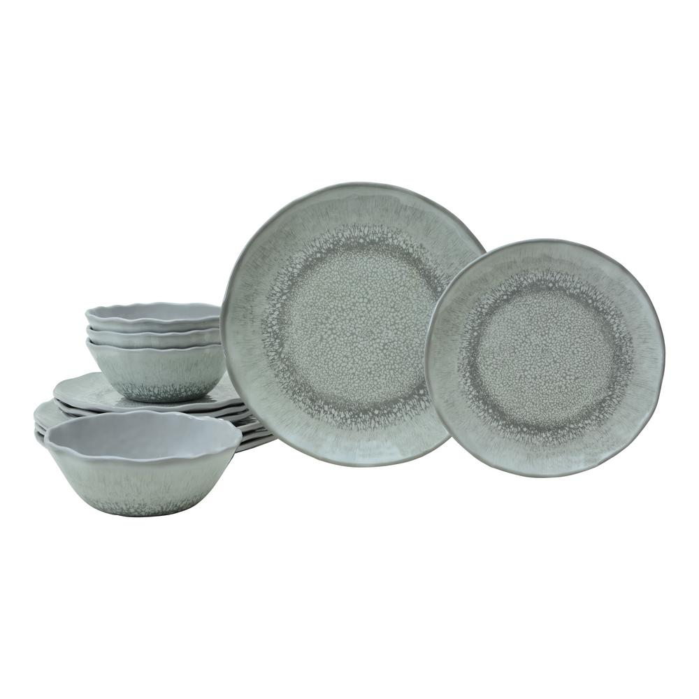 Wiley 12-Piece Grey Melmaine Dinnerware Set