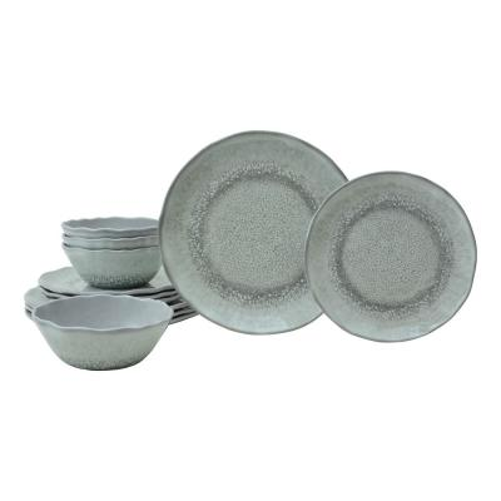 Wiley 12-Piece Grey Melmaine Dinnerware Set
