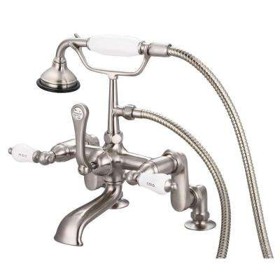 3-Handle Claw Foot Tub Faucet with Labeled Porcelain Lever Handles and Handshower in Brushed Nickel