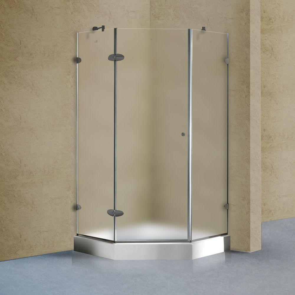 Vigo 42 in. x 78 in. Frameless Neo-Angle Shower Enclosure in Brushed Nickel with Frosted Glass with Base