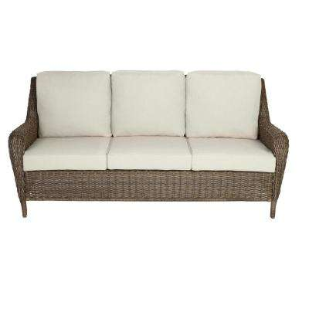 Cambridge Gray Wicker Outdoor Patio Sofa with Bare Cushions