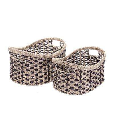 13 in W x 18 in L Handmade Water Hyacinth Oval Wicker Nesting Baskets in Brown and Natural (2-Pack)