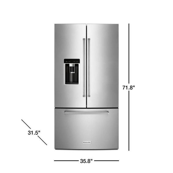 Kitchenaid 23 8 Cu Ft French Door Refrigerator In Stainless Steel Counter Depth Krfc604fss The Home Depot