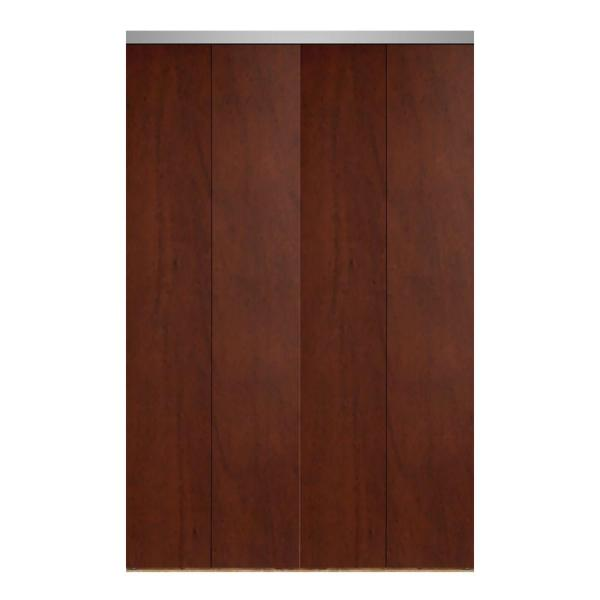 Impact Plus 84 In X 84 In Smooth Flush Cherry Solid Core Mdf Interior Closet Bi Fold Door With Chrome Trim Bfc344 8484c The Home Depot