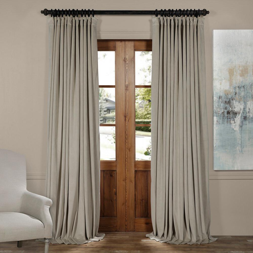 Blackout Signature Cool Beige Doublewide Velvet Curtain