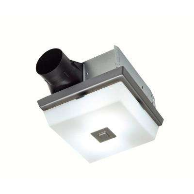 InVent Decorative Polished Steel 70 CFM Ceiling Roomside Installation Bathroom Exhaust Fan with Light and White Globe