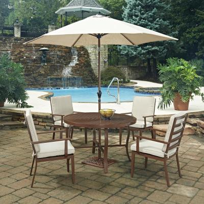 Key West Chocolate Brown 7-Piece Extruded Aluminum Outdoor Dining Set with Beige Cushions