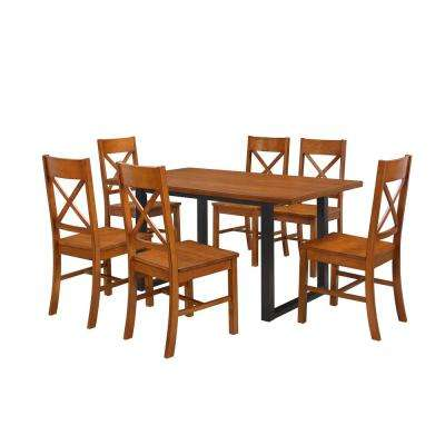 Madison 7-Piece Antique Brown Wood Dining Set