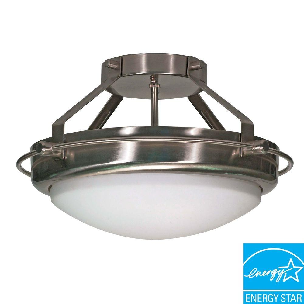 Green Matters 2-Light Brushed Nickel Semi-Flush Mount Dome Fixture