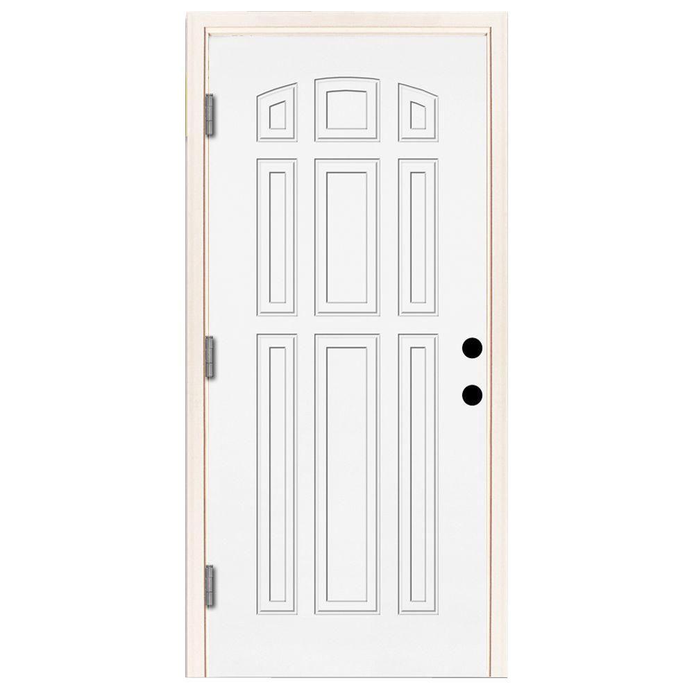 Premium 9-Panel Primed White Steel Prehung Front Door