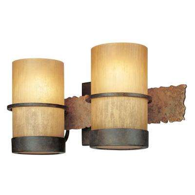 Bamboo 2-Light Bamboo Bronze Vanity Light