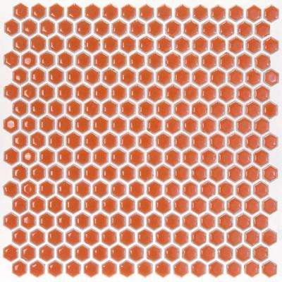 Bliss Edged Hexagon Mango 12 in. x 12 in. x 10 mm Polished Ceramic Mosaic Tile