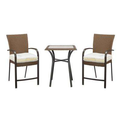 0b4bb1306 Corranade Custom 3-Piece Wicker Outdoor Balcony Height Bistro Set with  Cushions Included
