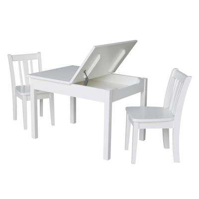 Jorden Lift-Top Storage 3-Piece White Kid's Table and Chair Set