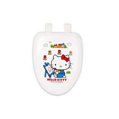 HK Elongated Closed Front Toilet Seat in White with Crystal Cut Hard White Artist Painting Drawing Cover