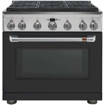 36 in. 5.8 cu. ft. Dual Fuel Range with Self-Cleaning Convection Oven in Matte Black, Fingerprint Resistant