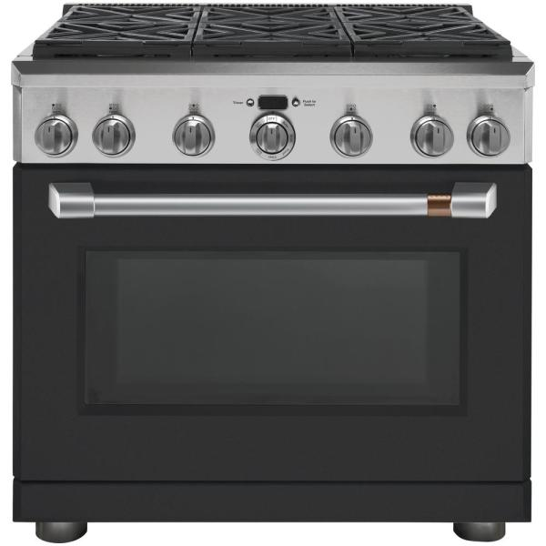 36 in. 5.75 cu. ft. Dual Fuel Range with Self-Cleaning Convection Oven in Matte Black, Fingerprint Resistant