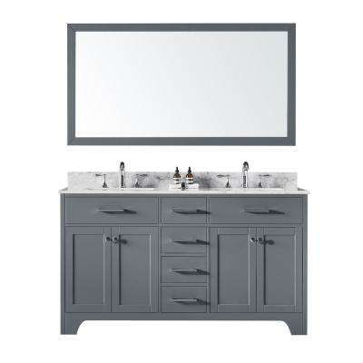 60 in. Double Sink Bathroom Vanity in Cashmere Grey with Carrara White Marble Top and Mirror Set