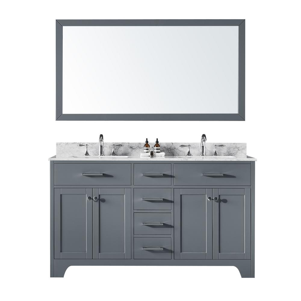 Exclusive Heritage 60 in. Double Sink Bathroom Vanity in Cashmere Grey with Carrara White Marble