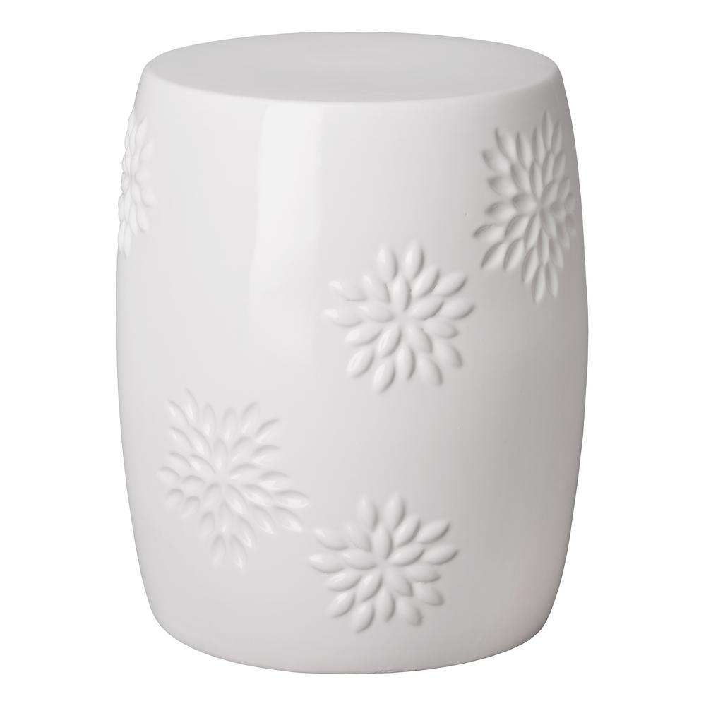 Kiku White Ceramic Garden Stool