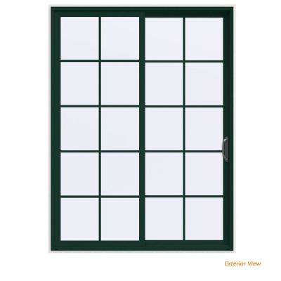 72 in. x 96 in. V-4500 Contemporary Green Painted Vinyl Right-Hand 10 Lite Sliding Patio Door w/White Interior
