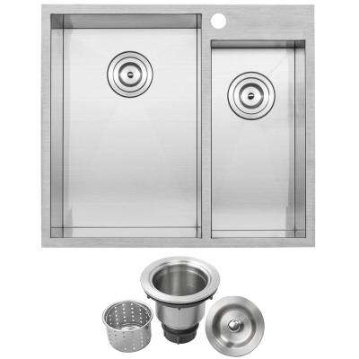 Arlo Zero Radius Drop-in 18-Gauge Stainless Steel 25 in. Double Bowl Kitchen Sink with Basket Strainer