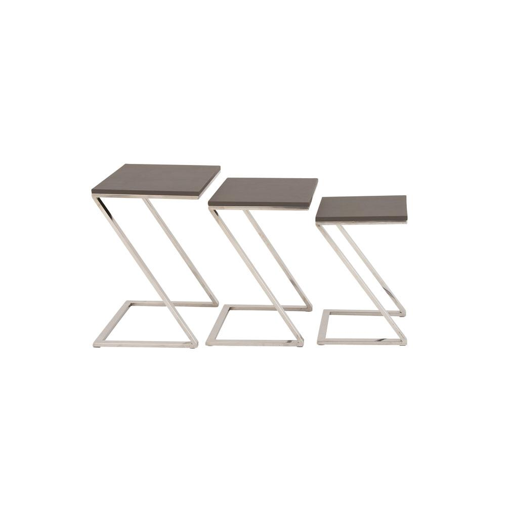 Black Rectangular Nesting Tables with Silver Z-Shaped Legs (Set of 3)
