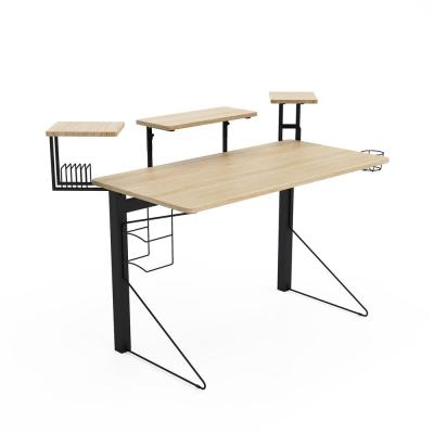 51 in. Rectangular Black/Natural Computer Desk with Shelf