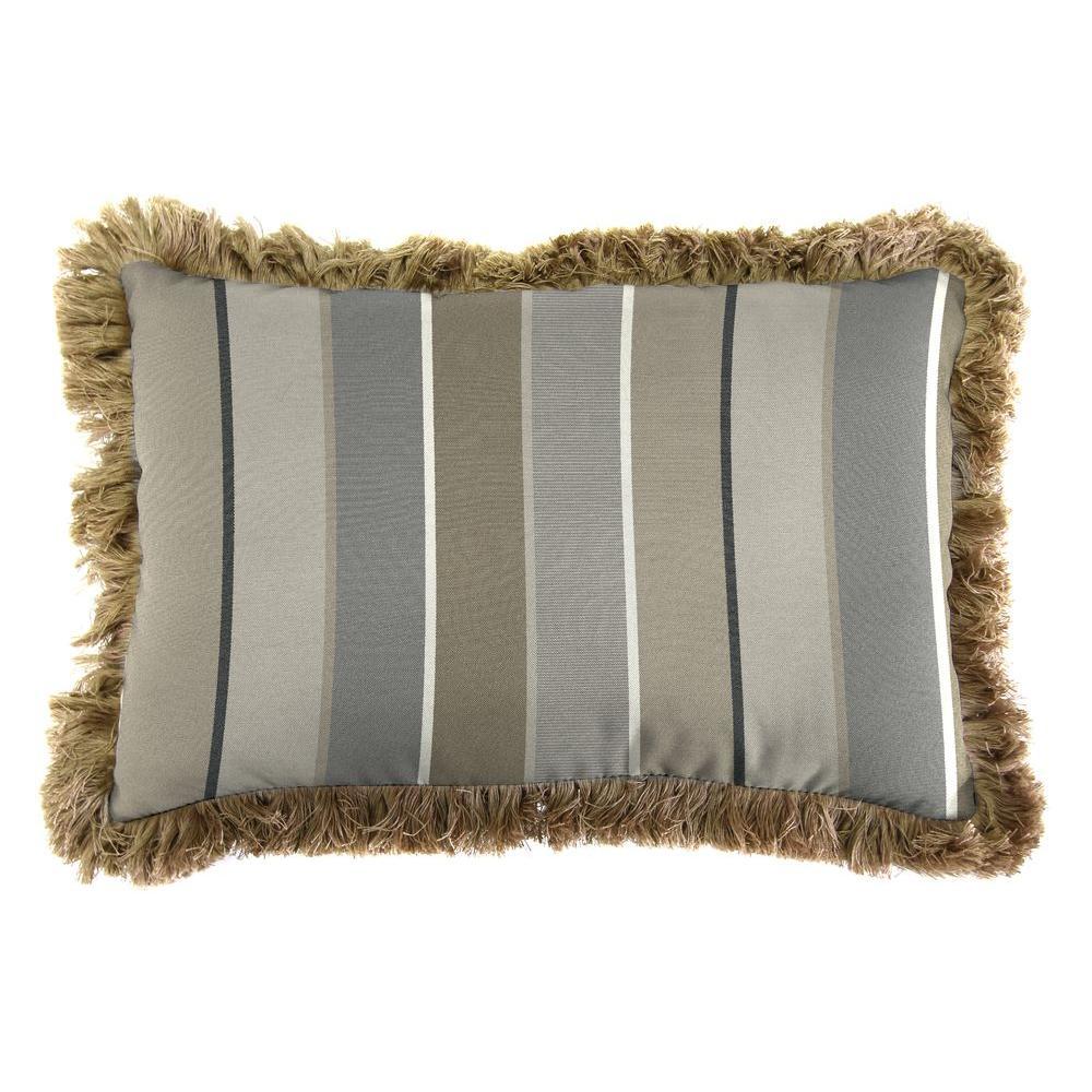 Sunbrella 9 in. x 22 in. Milano Charcoal Lumbar Outdoor Pillow with Heather Beige Fringe