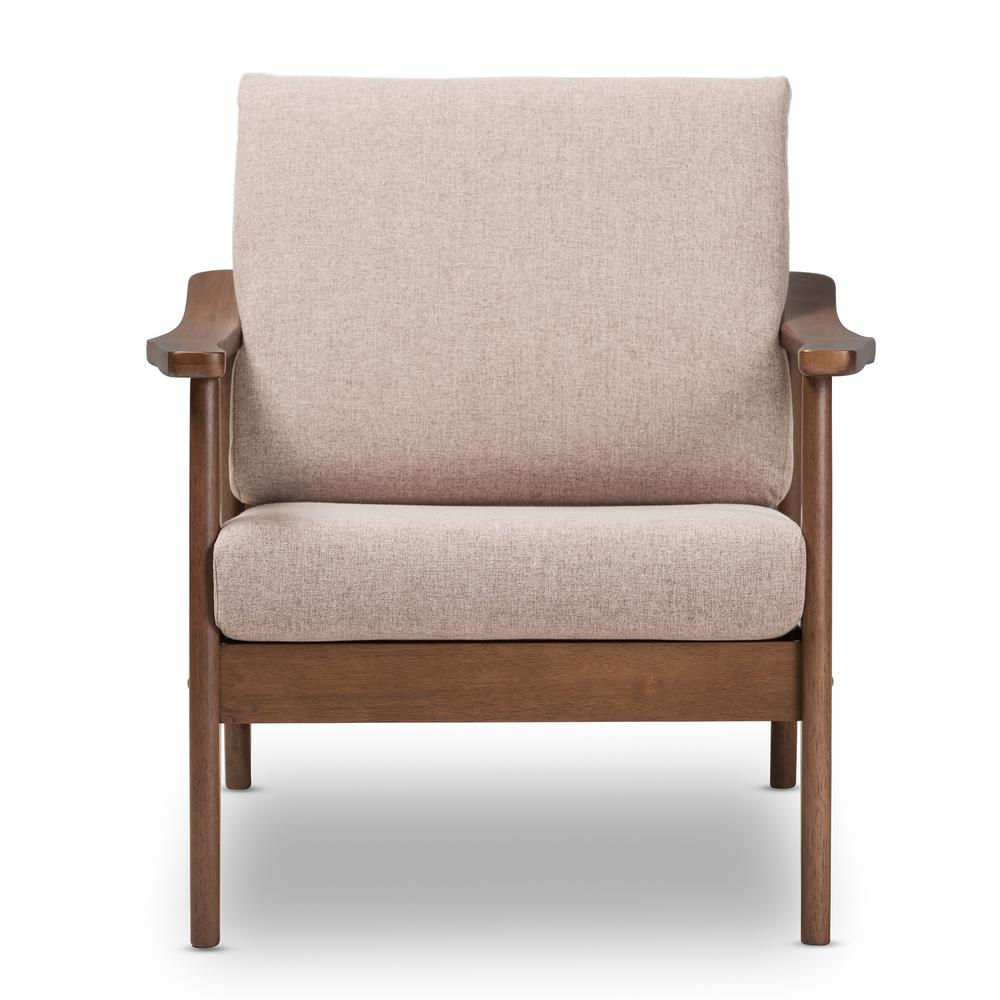 "Venza Light Brown/""Walnut"" Brown Fabric Lounge Chair"