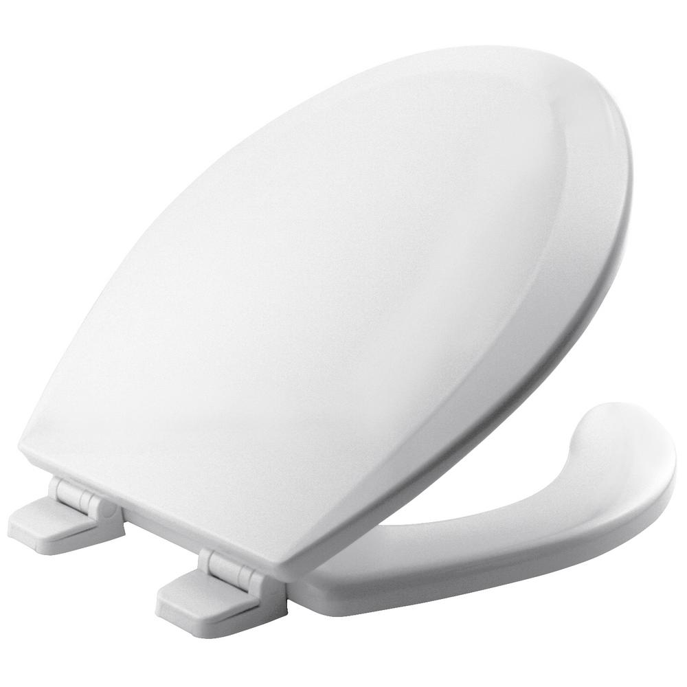BEMIS Round Open Front Toilet Seat in White Adjustable Hinge