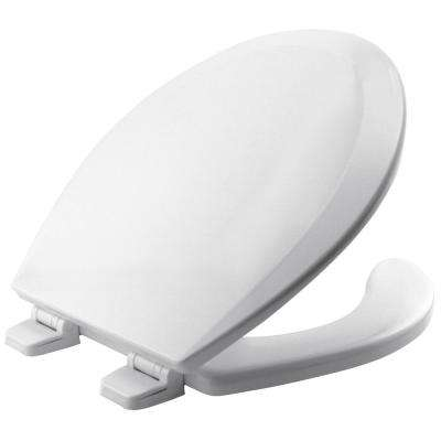 Round Open Front Toilet Seat in White Adjustable Hinge