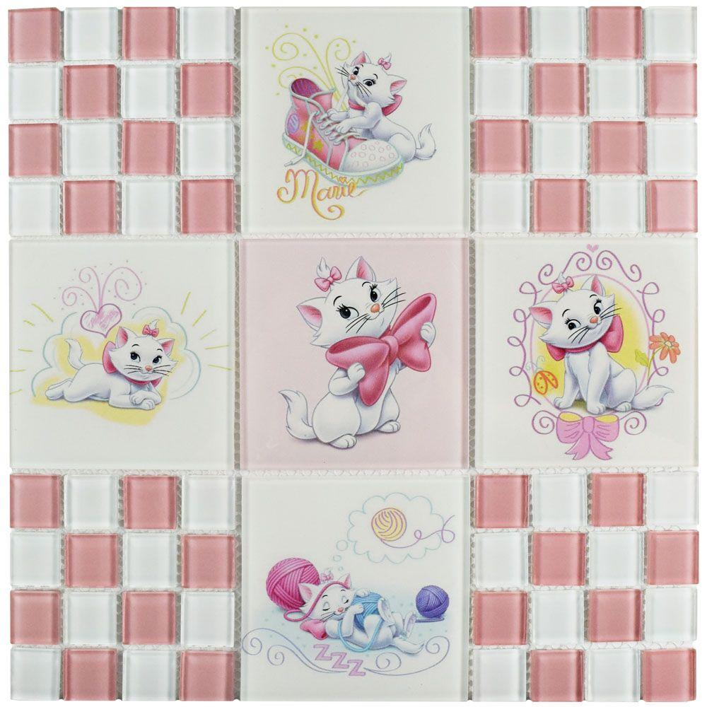Disney Aristocats Pink 11-3/4 in. x 11-3/4 in. x 5 mm Gla...