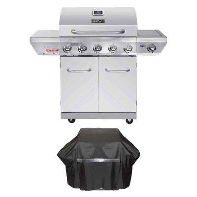 Evolution 5-Burner Propane Gas Grill in Stainless Steel with Side Burner and Infrared Technology Plus Grill Cover