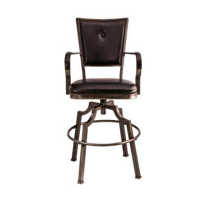 Castlebrook 26 in.Weathered Bronze Pewter/Black Swivel Counter Stool