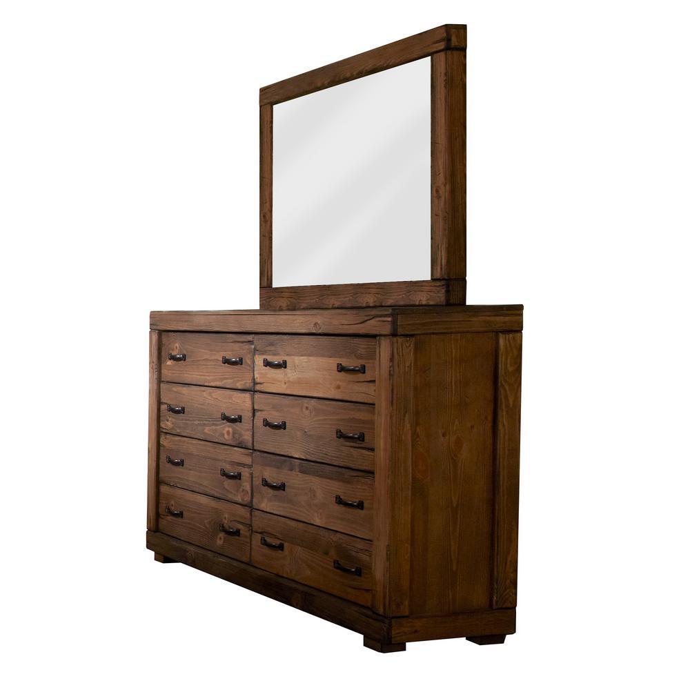 Maverick 8-Drawer Driftwood Dresser with Mirror