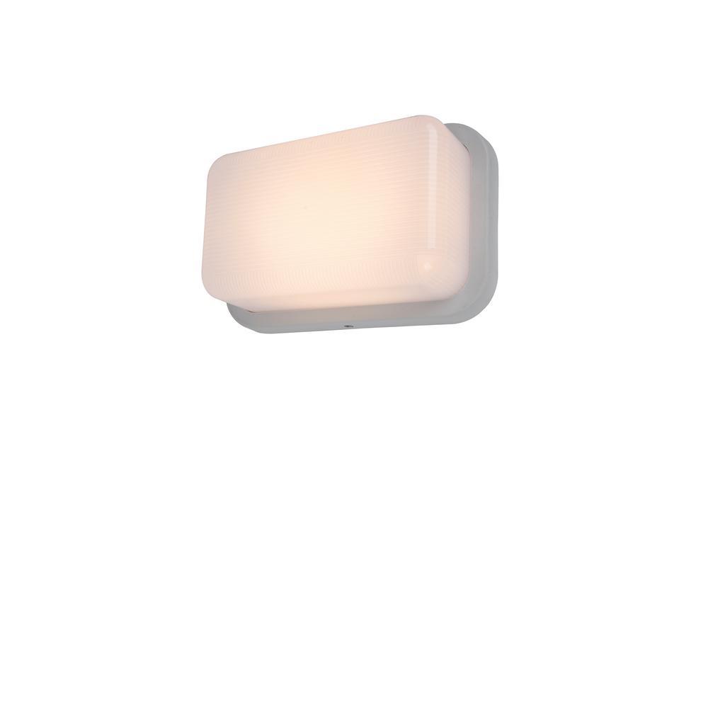 Coastal Hatteras White Outdoor Integrated LED Bulkhead Wall Lantern