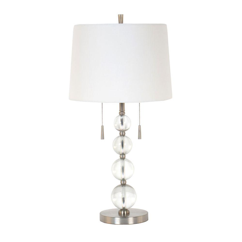 28 In Brushed Nickel And Clear Acrylic Ball Table Lamp With White Hardback Shade